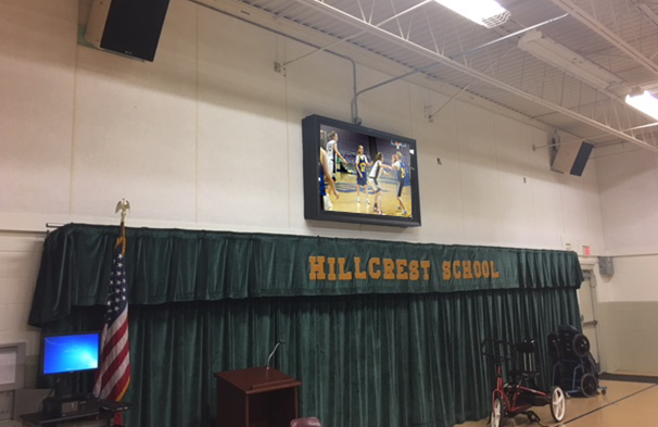 TVs for School Gyms: 4 Uses Plus Digital Display Enclosure Solutions Marion County School Gym Digital Sign The TV Shield PRO TV enclosure